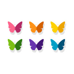 Vector Illustration of a Background with Colorful Paper Butterflies