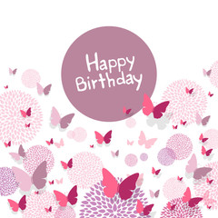 Vector Illustration of a Happy Birthday Greeting Card with Paper Butterflies and Floral Design Elements