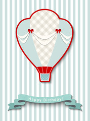 Happy birthday greeting card with vintage hot air balloon, illustration
