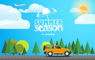 Summer season flat design illustration