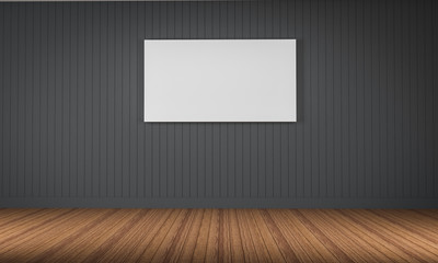 photo frame on the wall wood floor 3d rendering..