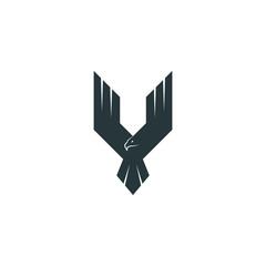 Silhouette eagle logo predator, wings up flying hawk, abstract shape phoenix