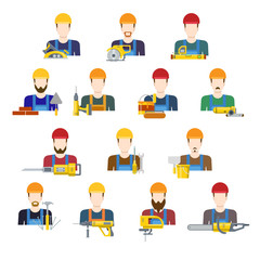 Building industry builders profession worker staff userpic avatar creative people icon set. Flat style carpenter painter decorator mason bricklayer stonemason builder laborer hunky tiler app icons.