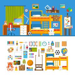 Children room constructor mockup template vector icon set