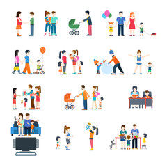 Family life style concept vector flat icon set.