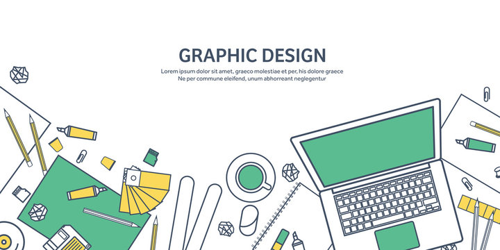 Lined, ouline flat graphic web design. Drawing and painting. Development. Illustration, sketching, freelance. User interface. UI. Computer, laptop.