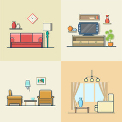 Living room interior indoor set. Linear colorful stroke outline flat style vector icons. Color icon collection.