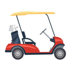 red golf cart vector illustration. golf car isolated on white background