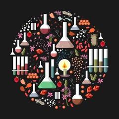 Set of fantasy alchemy elements on black background. Round card. Vector illustration.