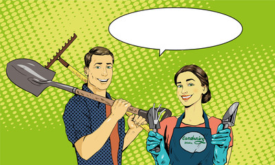Man and woman with garden tools. Vector illustration in retro comic pop art style