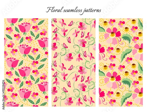 Set Of Cute Seamless Floral Patterns Vintage Backgrounds With Pink Flowers Vector Illustration