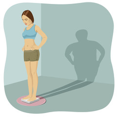 Young woman standing on bathroom scale with her shadow shows her distorted body image
