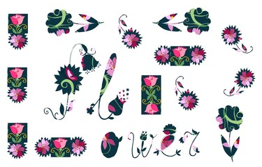 Card with abstract flowers on white background. Vector illustration.