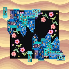 Bandana print or silk neck scarf. Kerchief square pattern. Card with town in desert - blue houses and pink flowers on sand background. Vector illustration.
