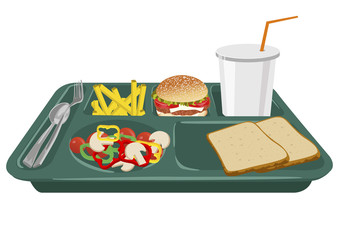 A school lunch tray with copy space