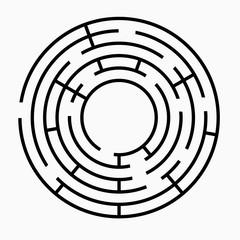 Black round maze on a white background