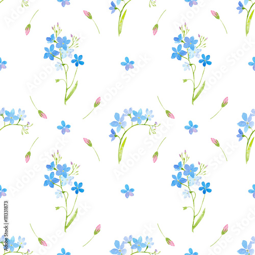 Garland With Forget Me Not Flower Watercolor Hand Drawn Ilration Stock Photo And Royalty Free Images On Fotolia Pic 111438799