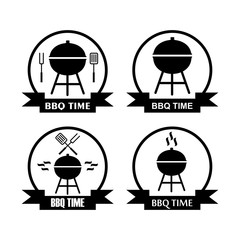 set of logo bbq time with grill pan