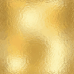 Gold texture blank pattern. Light realistic, shiny, metallic empty golden gradient template. Abstract scabrous metal decoration. Foil design for wallpaper, background, fabric etc. Vector Illustration.