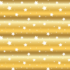 Stars seamless pattern gold and white retro background. Wave chaotic elements. Abstract golden foil texture. 3d effect sky. Design template for wallpaper, wrapping, fabric, textile Vector Illustration