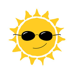 Happy sun fun icon. Cute smiling sign with sunglasses. Cartoon design. Yellow element, isolated on white background. Symbol of weather, heat, sunny and sunlight, smile, relaxation. Vector illustration