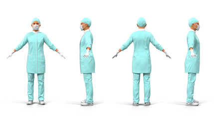 Female doctor full length portrait on white 3D Illustration