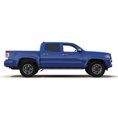 Generic pickup car isolated on white 3D Illustration