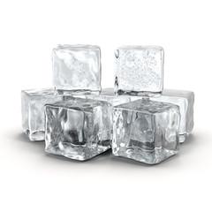 Ice Cube on White 3D Illustration