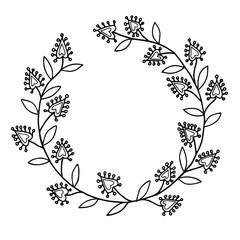Vector black line floral frame