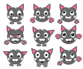 Vector icons of smiley cat faces with paws