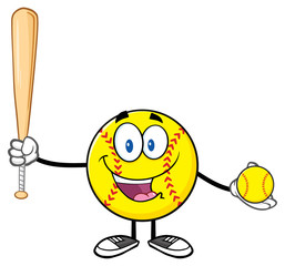 Happy Softball Player Cartoon Character Holding A Bat And Ball