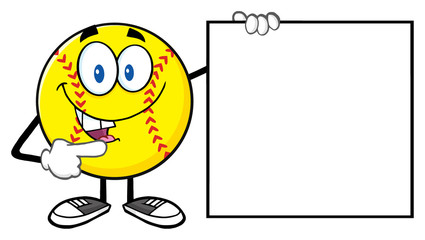 Talking Softball Cartoon Mascot Character Pointing To A Blank Sign