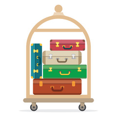 Baggage, luggage, suitcases on trolley.