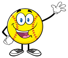 Happy Softball Cartoon Character Waving For Greeting