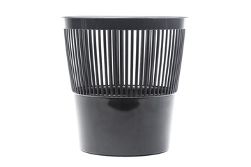 Black trash can isolated on white