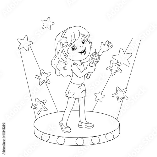 Kleurplaat Microfoon Quot Coloring Page Outline Of Girl Singing A Song On Stage