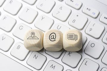 Social media icon on computer keyboard