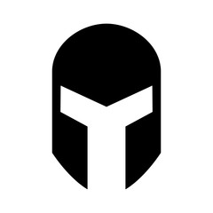 Medieval gladiatorial helmet headgear flat icon for games and websites