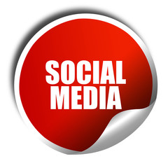 social media, 3D rendering, red sticker with white text