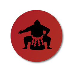 Sumo wrestler and japanese national flag .vector art