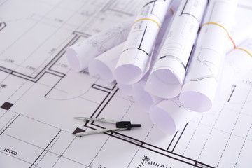 Set of construction blueprints with divider closeup