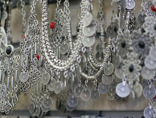 silver jewelry in the shop