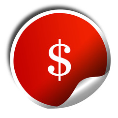 dollar sign, 3D rendering, red sticker with white text