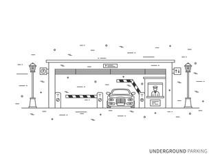 Underground parking (terminal, pay-gate, tourniquet, transportation) linear vector illustration. Underground parking building creative graphic concept. Underground parking graphic design.