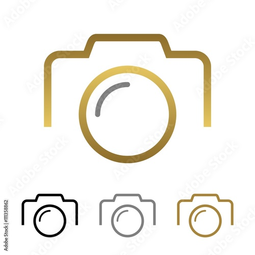 quotsimple camera gold line logo templatequot stock image and