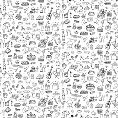 Seamless background hand drawn doodle Picnic icons set Vector illustration barbecue sketchy symbols collection Cartoon bbq concept elements Summer picnic Guitar Food basket Sandwich Sport activities