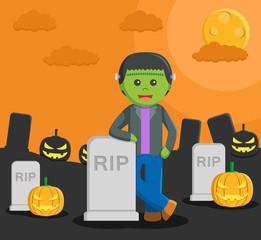man dressed as a frankenstein in halloween