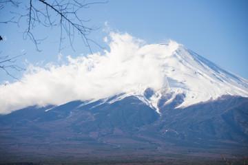 beautiful Fuji mountain with blue sky