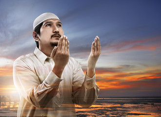 Image of double exposure muslim man