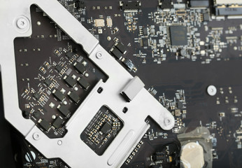 Disassembled computer monitor with internal components, close up